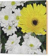 Yellow White Flowers Wood Print