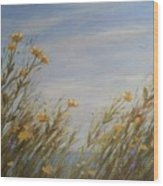 Yellow Wildflowers In The Sea Breeze Wood Print