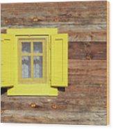 Yellow Window On Wooden Hut Wall Wood Print