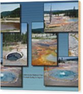 Yellowstone Park Firehole Spring In August Collage Wood Print