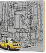 Yelow Cab On New York Streets Wood Print