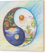 Yin Yang Spring And Autumn Wood Print