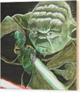 Yoda Fights Wood Print