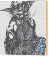 Yoda Soothes Baby R2 With The Charm Of His Homegrown Cello Wood Print by Tai Taeoalii
