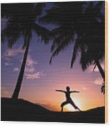 Yoga At Sunset Wood Print