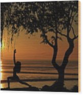 Yoga By The Bay At Sunset Wood Print