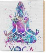 Yoga Meditation Watercolor Print Wood Print