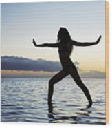 Yoga On The Coastline Wood Print