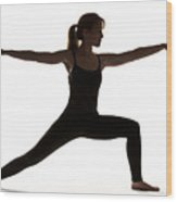 Yoga Pose Warrior II Wood Print