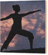 Yoga Sunset Wood Print