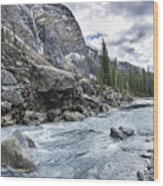 Yoho River At Takakkaw Falls Wood Print