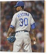 Kansas City Royals, Yordano Ace Ventura,  Painting, Forever Blue Wood Print