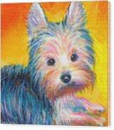 Yorkie Puppy Painting Print Wood Print