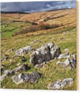 Yorkshire Dales Limestone Countryside Wood Print