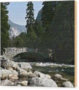 Yosemite Bridge Water Color Photograph Wood Print