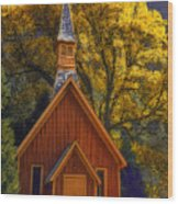 Yosemite Chapel Wood Print