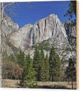 Yosemite Falls Through The Trees Wood Print