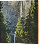 Yosemite Falls With Late Afternoon Light In Yosemite National Park. Wood Print