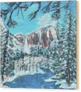 Yosemite In Winter Wood Print