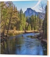 Yosemite Merced River With Half Dome Wood Print