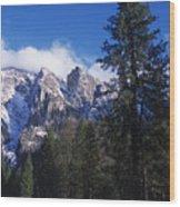 Yosemite Three Brothers In Winter Wood Print