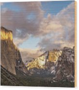 Yosemite Tunnel View Sunset In Winter Wood Print