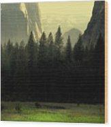 Yosemite Valley Golden . Vertical Wood Print