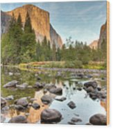 Yosemite Valley Reflected In Merced River Wood Print