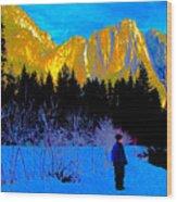 Yosemite Valley Winter Walk Wood Print