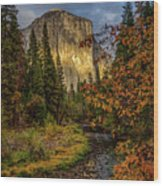 Yosemite's El Capitan In The Fall Wood Print