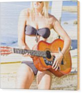 Young Attractive Blonde Woman Playing Guitar Wood Print