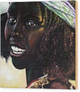 Young Black African Girl Wood Print