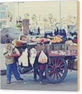 Young Boy Fruit Seller Wood Print
