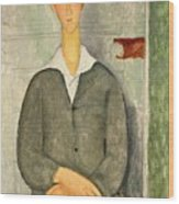 Young Boy With Red Hair Wood Print by Amedeo Modigliani
