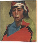 Young Buck Of The Tesuque Pueblo Wood Print