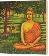 Young Buddha Meditating In The Forest Wood Print