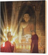 Young Buddhist Monk Are Reading With Sun Light Wood Print