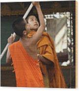 Young Buddhist Monks Laos Wood Print