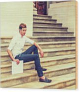 Young Businessman Sitting On Stairs, Relaxing Outside Wood Print