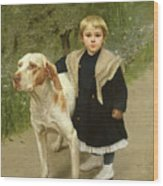 Young Child And A Big Dog Wood Print