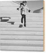 Young Child Jumping Down Steps Wood Print