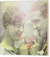 Young Couple Flirting Wood Print