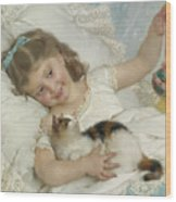 Young Girl And Cat Wood Print