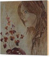 Young Girl And Flowers  Wood Print