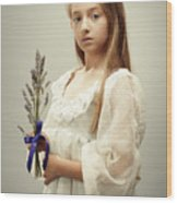Young Girl Holding Lavender Wood Print