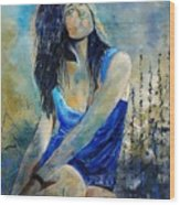 Young Girl In Blue Wood Print