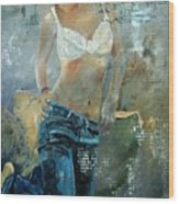 Young Girl In Jeans  Wood Print