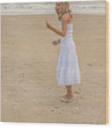 Young Girl On Beach Wood Print