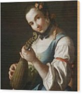 Young Girl Playing Musical Instrument Wood Print