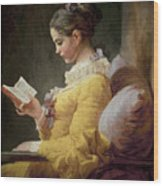 Young Girl Reading Wood Print by JeanHonore Fragonard